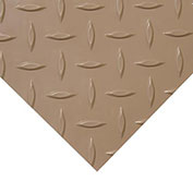 "Rubber-Cal ""Diamond-Plate (Metallic)"" PVC Flooring, Beige, 2.5mm THK x 4'W x 6'L"