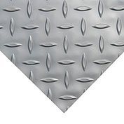 "Rubber-Cal ""Diamond-Plate (Metallic)"" PVC Flooring, Silver, 2.5mm THK x 4'W x 25'L"