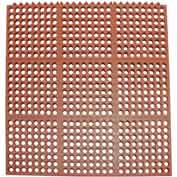 "Rubber-Cal ""Dura-Chef Interlock"" Anti-Fatigue Interlocking Tiles, 5/8""THK x 3'W x 3'L, Red"
