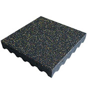 """Rubber-Cal """"Eco-Safety"""" Playground Tiles, 3""""THK x 19.5""""W x 19.5""""L, Yellow/Red/White Speckled"""