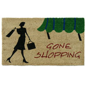 "Rubber-Cal ""Gone Shopping"" Novelty Doormat, 18""W x 30""L, UniqueWelcome Mat"