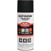 Rust-Oleum Industrial 1600 System Gen Purpose Enamel Aerosol, Ultra-Flat Black, 12 oz. - 1676830 - Pkg Qty 6