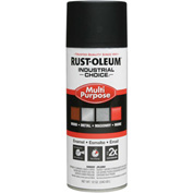Rust-Oleum Industrial 1600 System General Purpose Enamel Aerosol, SemiFlat Black, 12 oz. - 1678830 - Pkg Qty 6