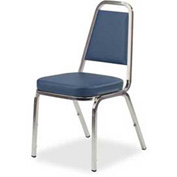 "Lorell® Upholstered Stacking Chair, 120 Chairs, 18""W x 22""D x 34-1/2""H, Blue, 4/PK - Pkg Qty 30"