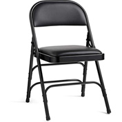 Steel with Vinyl Padded Seat Folding Chair - Black/Black