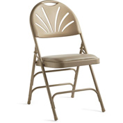 3000 Series Steel Fanback Padded Folding Chair - Neutral/Beige