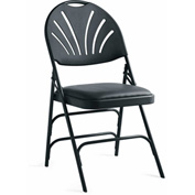 Xl Series Steel Fanback Padded Folding Chair, Vinyl Padded Seat & Fanback - Black/Black