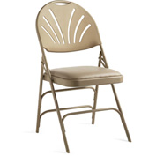 Xl Series Steel Fanback Padded Folding Chair, Vinyl Padded Seat & Fanback - Neutral/Neutral