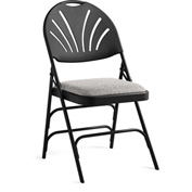 Xl Series Steel Fanback Padded Folding Chair, Fabric Padded Seat & Fanback Black/Black by Folding Chairs