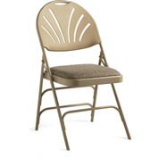 Xl Series Steel Fanback Padded Folding Chair, Fabric Padded Seat & Fanback - Neutral/Beige