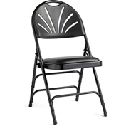 3000 Series Steel Fanback Padded Folding Chair, Leather & Memory Foam Padding - Black/Black