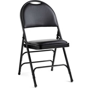 Comfort Series Steel Fanback Padded Folding Chair, Leather & Memory Foam Padding - Black/Black