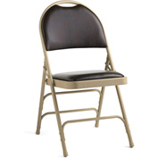 Comfort Series Steel Fanback Padded Folding Chair, Leather & Memory Foam Padding Neutral/Chocolate by Folding Chairs
