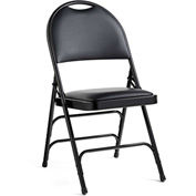 Comfort Series Steel Fanback Padded Vinyl Folding Chair - Black/Black
