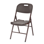 Sandusky Plastic Folding Chair - Brown Rattan - 4 Pack
