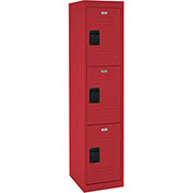 "Sandusky Welded Steel Color Lockers LF3B151866-01 - 15""W x 18""D x 66""H Red"