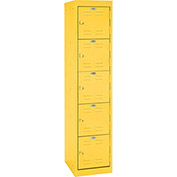 "Sandusky Welded Steel Color Lockers LF5H151866-EY - 15""W x 18""D x 66""H Yellow"