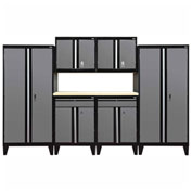 Sandusky&#174 - 7 Pc. Modular Set Black Frame/Charcoal Doors - GS07 - 029L