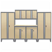 Sandusky&#174 - 7 Pc. Modular Set Charcoal Frame/Sand Doors - GS07 - 042L