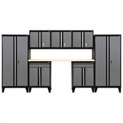 Sandusky® - 8 Pc. Modular Set Black Frame/Charcoal Doors - GS08 - 029L
