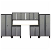 Sandusky&#174 - 8 Pc. Modular Set Black Frame/Multi - Granite Doors - GS08 - M09L