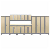 Sandusky® - 10 Pc. Modular Set Charcoal Frame/Sand Doors - GS10 - 042L