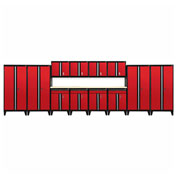 Sandusky® - 14 Pc. Modular Set Black Frame/Red Doors - GS14 - 019L