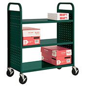 Sandusky® SF336 Double-Sided Flat 3 Shelf Steel Cart 37x18 - Forest Green