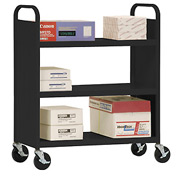 Sandusky® SF336 Double-Sided Flat 3 Shelf Steel Cart 37x18 - Black
