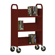 Sandusky® SL327 3-Shelf Single Sided Mobile Utility Truck 27x13 - Burgundy
