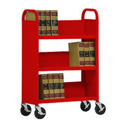 Sandusky® SL330 Single-Sided Slant 3 Shelf Book Cart 31x13 - Red