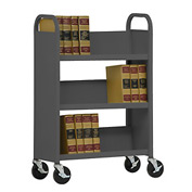 Sandusky® SL330 Single-Sided Slant 3 Shelf Book Cart 31x13 - Charcoal