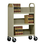 Sandusky® SL330 Single-Sided Slant 3 Shelf Book Cart 31x13 - Tropic Sand