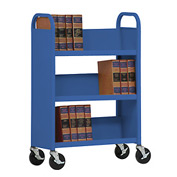 Sandusky® SL330 Single-Sided Slant 3 Shelf Book Cart 31x13 - Blue