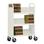 Sandusky® SL330 Single-Sided Slant 3 Shelf Book Cart 31x13 - Putty