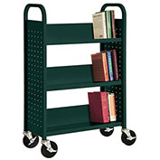 Sandusky® SL330 Single-Sided Slant 3 Shelf Book Cart 31x13 - Green