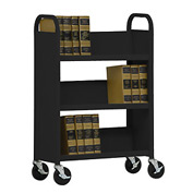 Sandusky® SL330 Single-Sided Slant 3 Shelf Book Cart 31x13 - Black