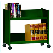 Sandusky® SR227 Single-Side Slanted 2 Shelf Book Cart 28x13 - Forest Green