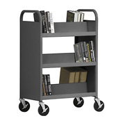 Sandusky® SV336 Double-Sided Slant 6 Shelf Steel Book Cart 37x18 - Charcoal