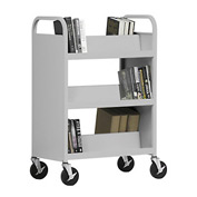Sandusky® SV336 Double-Sided Slant 6 Shelf Steel Book Cart 37x18 - Gray