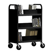 Sandusky® SV336 Double-Sided Slant 6 Shelf Steel Book Cart 37x18 - Black