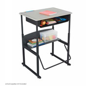 AlphaBetter™ Desk, 28 x 20 Standard Top with Book Box - Beige & Black