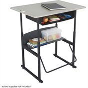 AlphaBetter™ Desk, 36 x 24 Standard Top with Book Box - Beige & Black