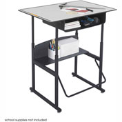AlphaBetter™ Desk, 36 x 24 Premium Top, with Book Box - Gray & Black