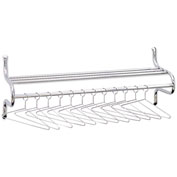 Safco® Chrome-Plated Wall Coat Rack w/ 12 Non-Removable Hangers