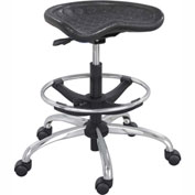 Safco Polyurethane Stool with Chrome Base - Black