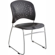 Safco® Rêve™ Guest Chair Sled Base Round Back, Black 2 Pack