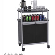 Safco 8964BL - Mobile Beverage Cart, Locking Cabinet, Steel, Black