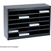 24 Compartment Steel Literature Organizer - Black