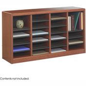 24 Compartment Wooden Literature Organizer - Cherry